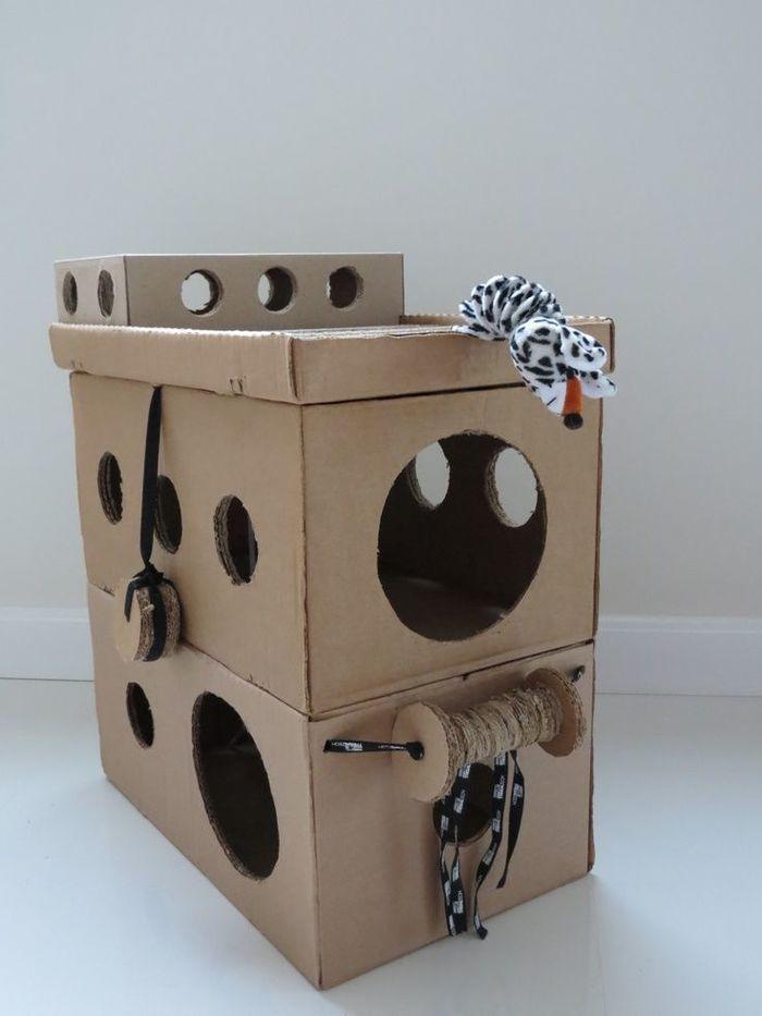 Кошке домик из коробок своими руками 90