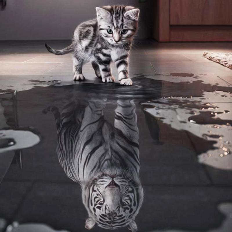Все кошки хищники в душе, поэтому пьют из лужи